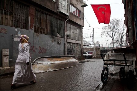 Istanbul street and Turkish flag