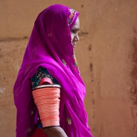 Village woman visiting Jodhpur's fort