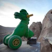 Abandoned green hobby-horse