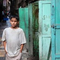 White t-shirt blue doors, Kathmandu